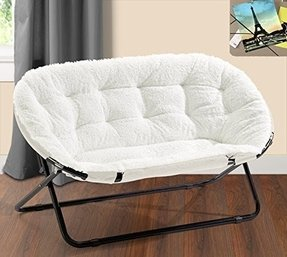 Urban Shop Double Saucer Chair, White Sherpa