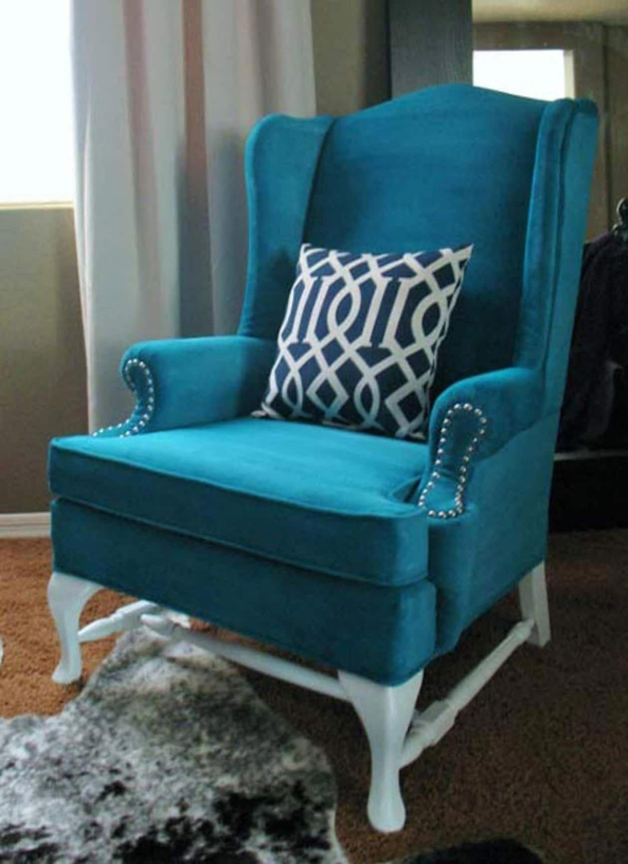 Velvet Wingback Chair 3