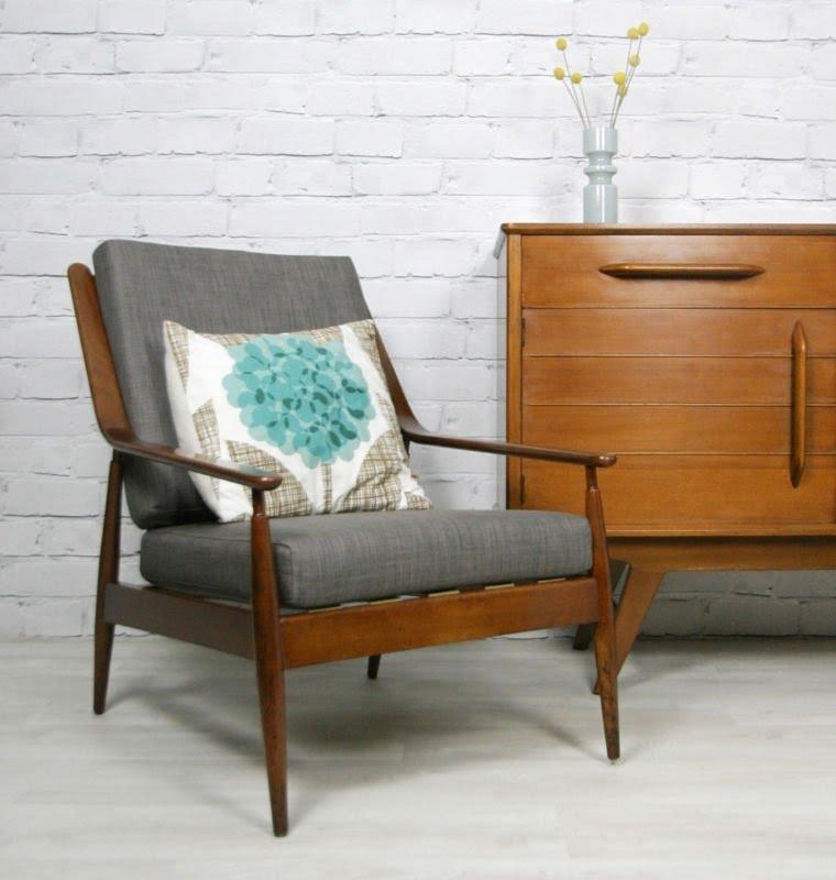 Vintage Retro Teak Mid Century Danish Style Armchair Chair Eames