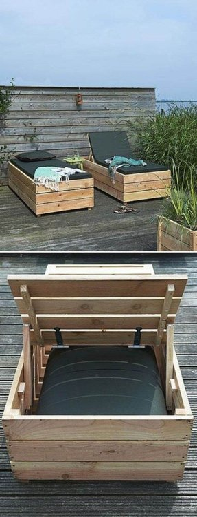 Wood daybed with storage