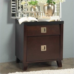 angelo:HOME Marlowe Charging Station Nightstand, Black and Chocolate Brown