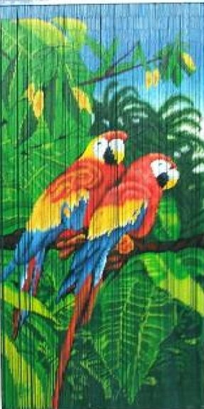 Bamboo Curtain with 2 Parrot Scene