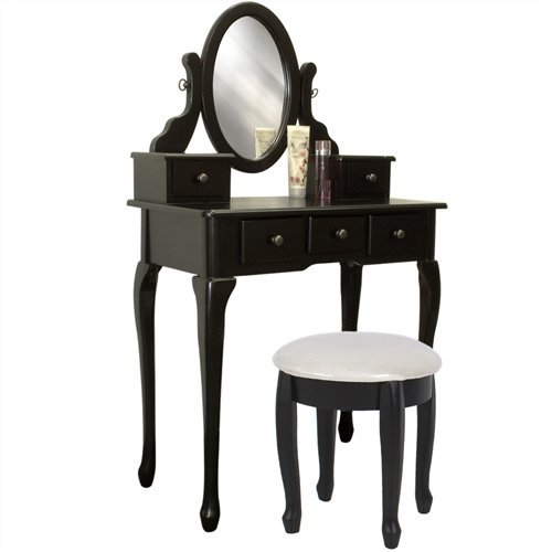 Best Choice Products® Black Vanity Table Set Jewelry Armoire Makeup Desk Bench Drawer  sc 1 st  Foter & Bedroom Vanity Tables - Foter