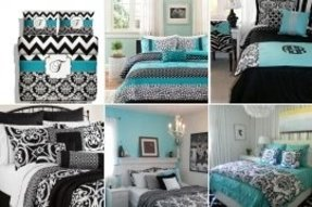 Blue and black damask bedding