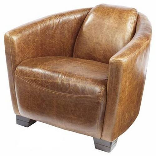 Merveilleux Brown Leather Bucket Chair