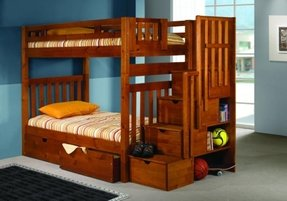 Bunk Bed Twin Over Mission Style In Honey With Stairway And Drawers