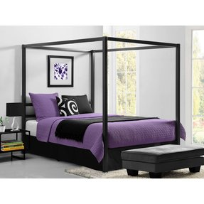 Canopy Bed Queen Size Metal Bed Frame With Headboard