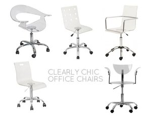 Clear chairs foter for Small clear desk