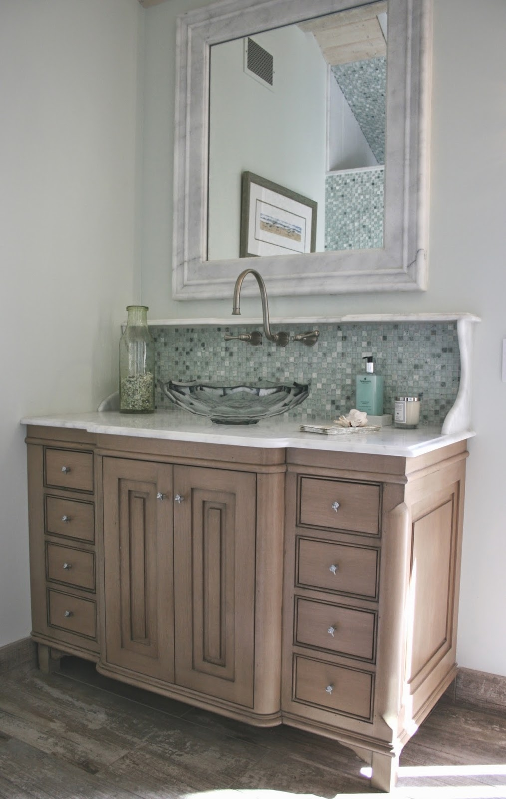 Rustic Cabin Bath 4-Light Unique Mirror Lighting Industrial Restroom Wood Vanity