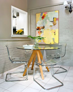 Glass top round kitchen table sets