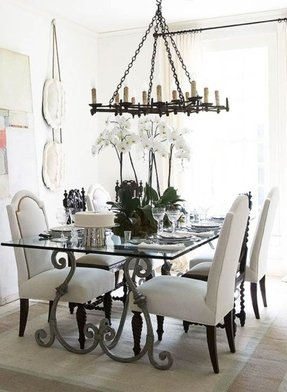 Glass Top Wrought Iron Dining Table 1