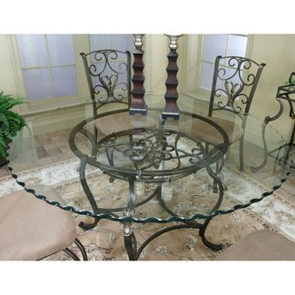 Gl Top Wrought Iron Dining Table