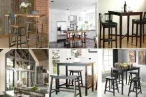 High kitchen table with stools