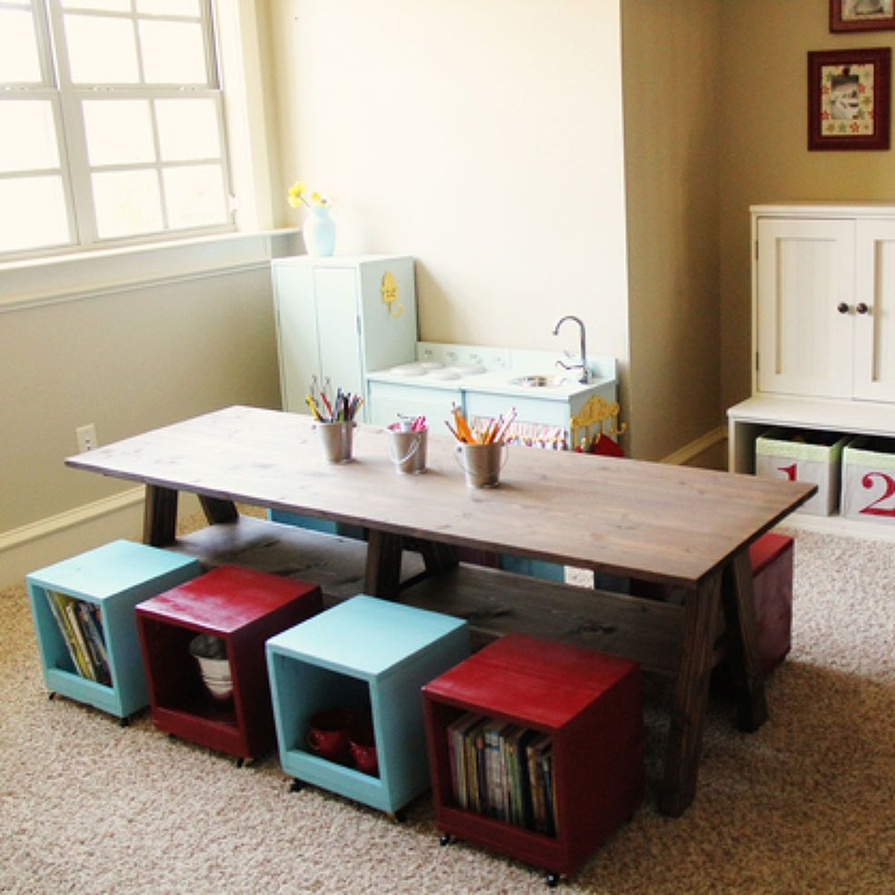Beautiful Kids Table And Bench Set