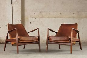 Pair of 2 seal lounge chairs ib kofod larsen original