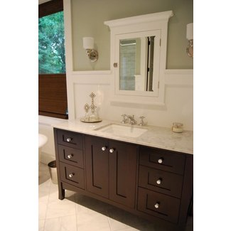 Recessed wood medicine cabinets with mirrors