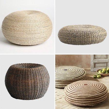 Attractive Seagrass Ottoman Round
