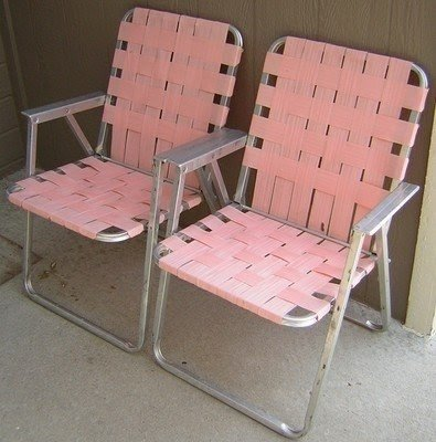 Vintage Aluminum Folding 2 Pink Lawn Chairs Webbing Patio Camping Matching Pair