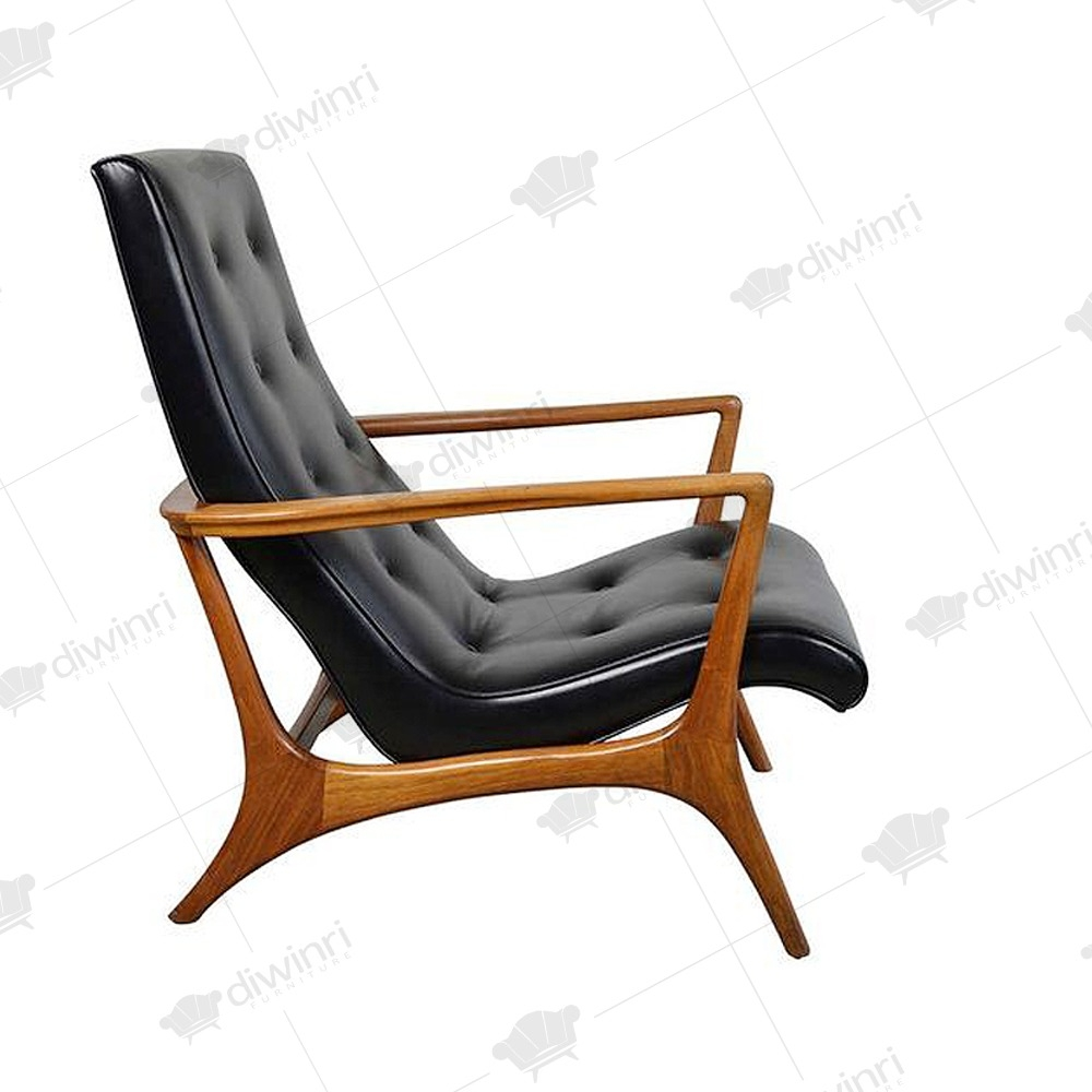 Delicieux Vladimir Kagan Sculptural Walnut Leather Lounge Chair 1