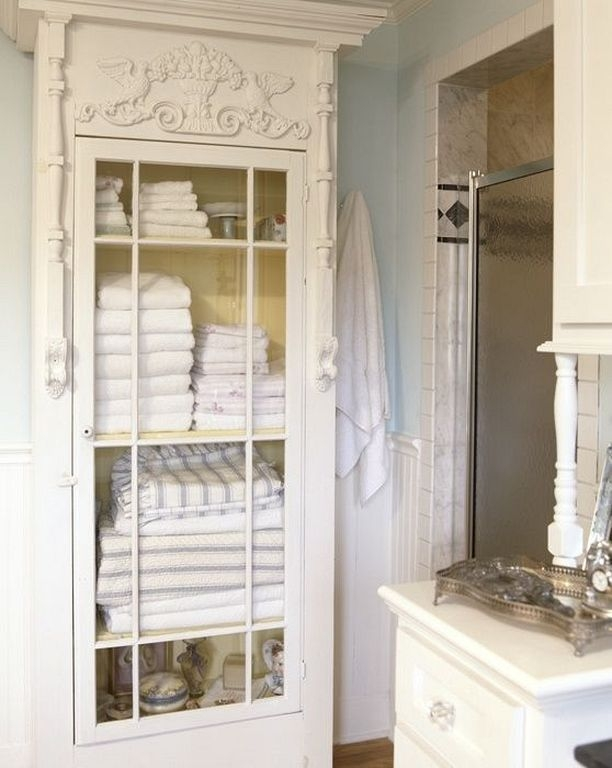 Charmant White Bathroom Linen Cabinet 1. With Its Glass Front ...