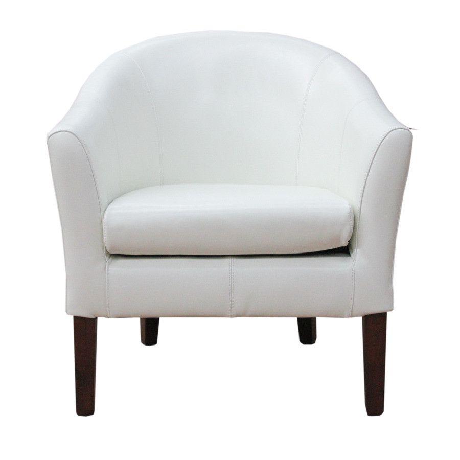 White Leather Tub Chair 1