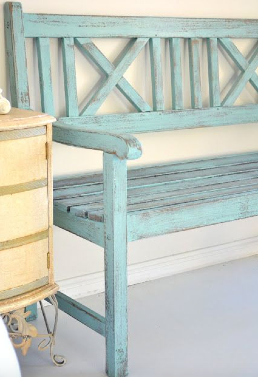 Tree Bench Garden Circular Seating Antique Green aged Paint vintage styled