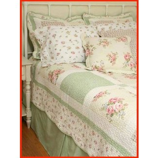10pc spring pink roses chic n shabby queen quilt shams