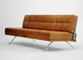 Armless leather sofa