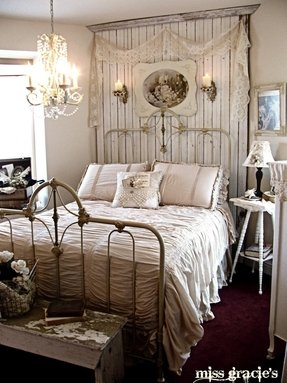 Distressed white bed