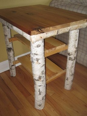 Diy idea handmade birch log table night stand coffee lovely