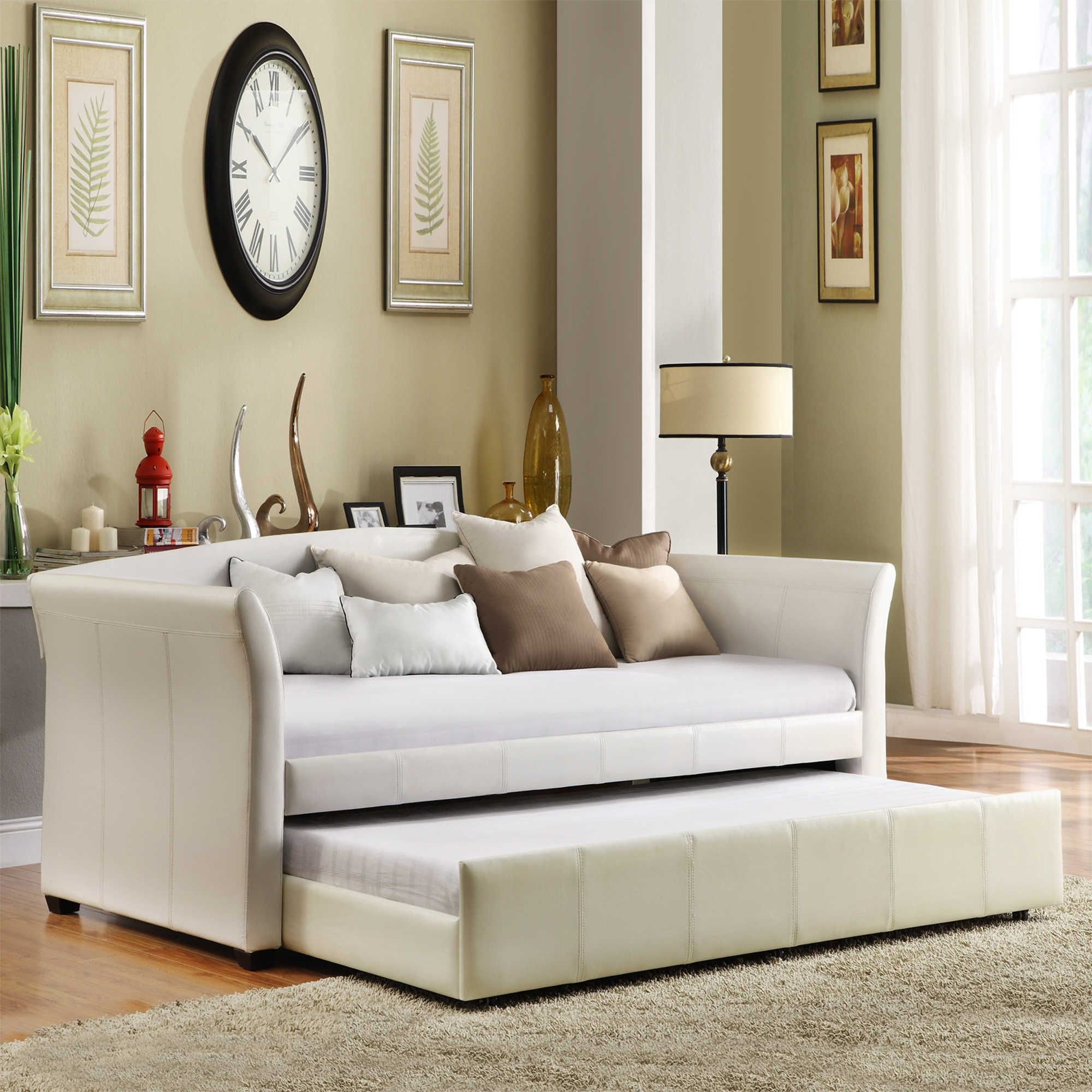 Faux Leather Daybed With Roll Out Trundle White