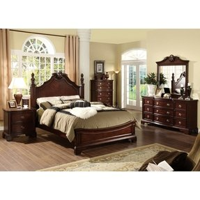 Furniture of america ambrosio formal 4 piece dark cherry bedroom