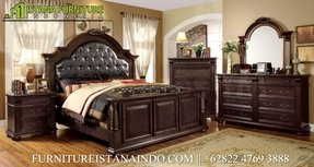 Furniture of America Archimedes 3-Piece English Style Bedroom Set with Nightstand and Chest, Queen, Brown Cherry Finish