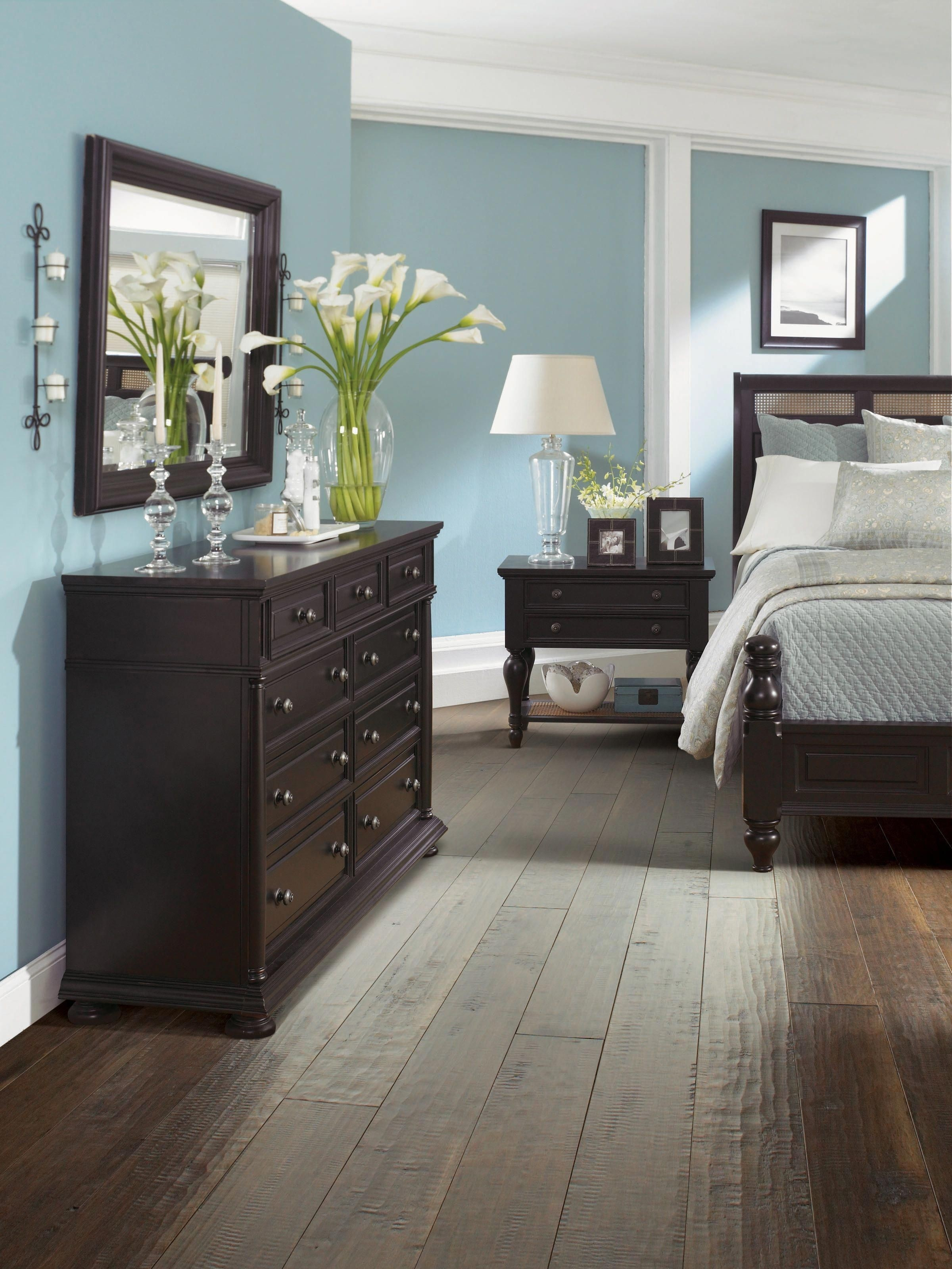 Grey Bedroom With Brown Furniture