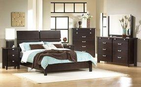 Cherry Wood Sleigh Bed Master Bedroom