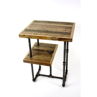 Industrial wood steel side tables