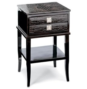 Irwin Hollywood Regency Brown Faux Crocodile Lacquer Wood Nightstand