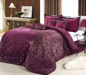 Lakhani 8 piece plum comforter set slumber in style when
