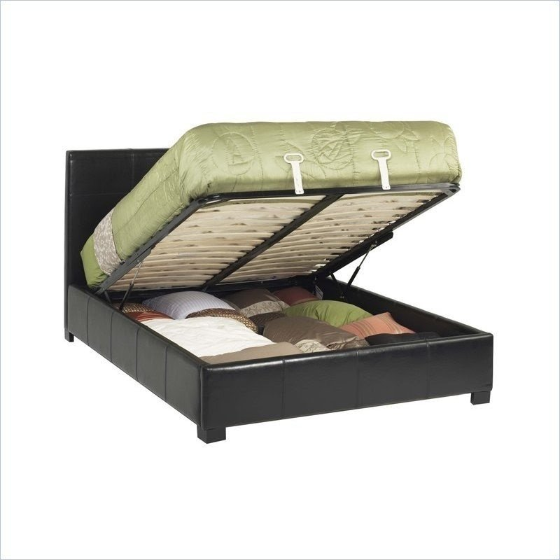 Leather california king size lift storage bed