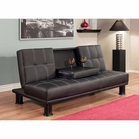 Luxury Modern Convertible Sofa Futon Bed, Twin Sized Mattress - Signature Black, Upholstery Faux Leather, This Sophisticated Tufted Design Features a Storage Tray and a Solid Oak Wood Frame