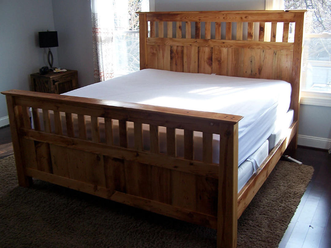 Mission style queen size bed frame made