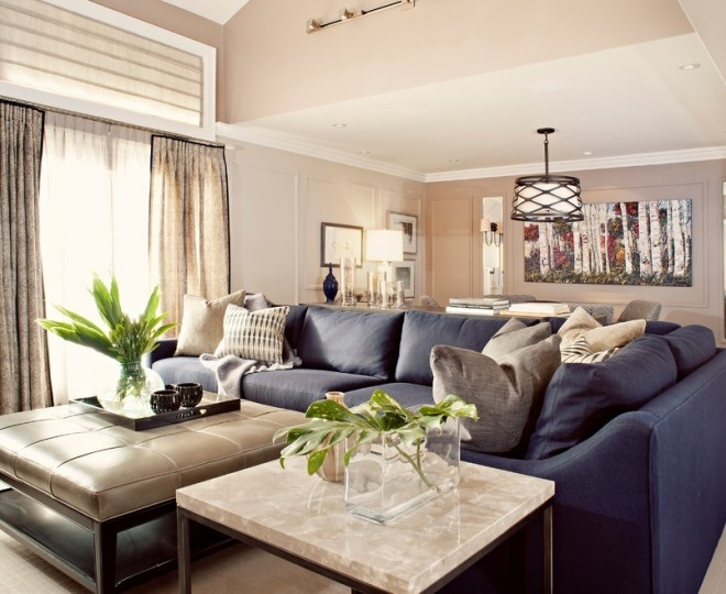 Modern Navy Blue Sectional Sofa