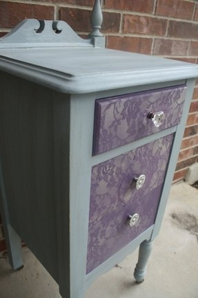 New shabby chic gray and purple side