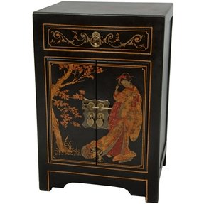 Oriental Furniture Classic Asian Nightstand, 23-Inch Ming Black Lacquer End Table Cabinet