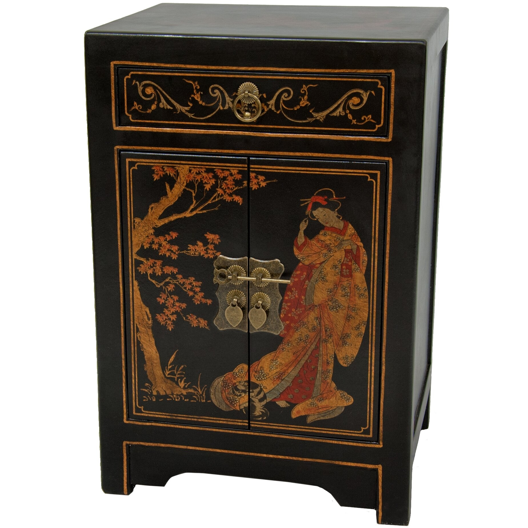 Oriental Furniture Classic Asian Nightstand, 23 Inch Ming Black Lacquer End  Table Cabinet