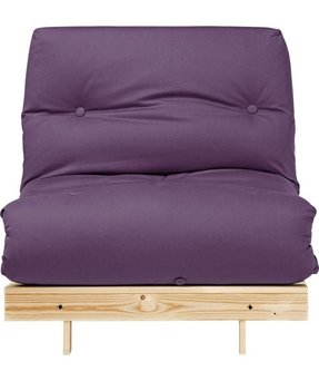 Single Pine Futon Sofa Bed With Mattress Aubergine