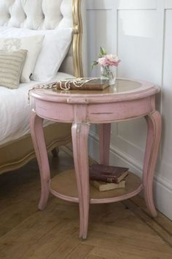 Merveilleux Bedside Table With Solid Wooden Frame Finished In Pink Color. This  Nightstand Offers A Small Round Top And A Round Shelf For Additional  Display Or Storage ...