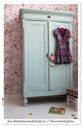 Pretty pale green armoire for a girls room love the