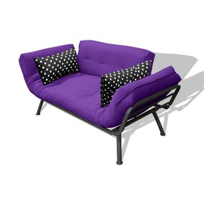 Edgy Trendting Purple Mini Futon Damage Proof Metal S Construction Gives Support To A Thick Mattress All Wred Up In Electric