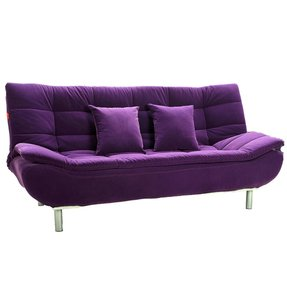 This Purple Futon Sofa Unique Looking Stylish Velvet 3 Seater Bed With Curved Arm Support The Whole Construction Stands On Polished Metal Legs